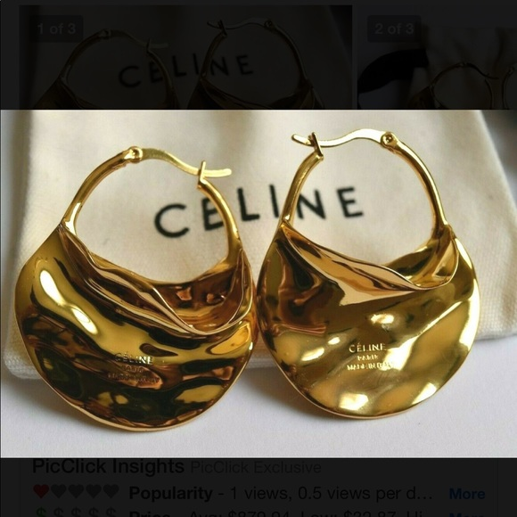 13b008545987b CELINE Swirl Big Hoops Gold Finishing Phoebe Philo